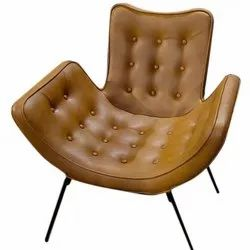 Brown Modern Leather Iron Chair