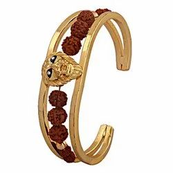 Rudraksh American Diamond Gold Plated Lion Cuff Kada Bracelet For Men