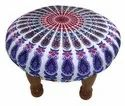 Patch Work Velvet Chowki - Foot Stool