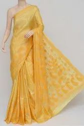 Yellow Color Tussar Silk Lucknowi Chikankari Saree (With Blouse) MC250804