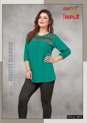 Party Wear Embroidered Rayon Top