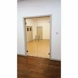 Hinged Plain Toughened Glass Double Door, Thickness: 12 mm
