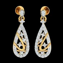 Teardrop Diamond Earrings, Packaging Type: Box