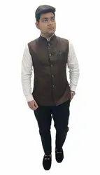 Brown Party Wear Nehru Jacket