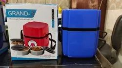 Plastic Blue insulated 3 container lunch box, for Office