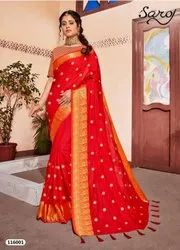 Red Color Designer Sana Silk Saree