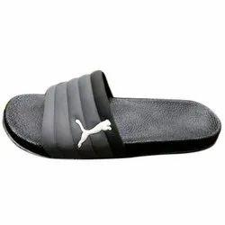 PVC Plain Mens Black Flip Flop Slipper