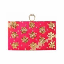Pink Zardosi Work Gota patti Clutch