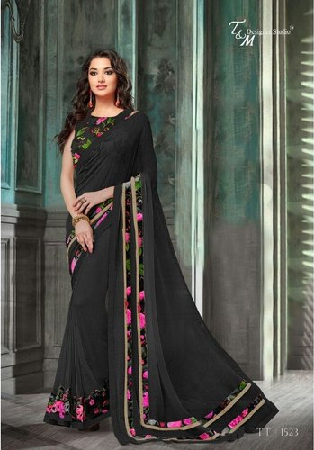 f5790b17f6 Plain Wih Lace Border Party Wear Black Georgette Saree, Length: 5.5 m  Separate Blouse