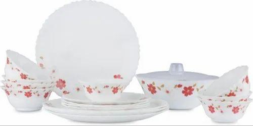 White Larah by Borosil Opalware Dinner Set Flora Pack of 18