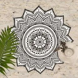 Indian Mandala Round Beach Tablecloth Lotus Flower Round Cotton Outdoor Beach