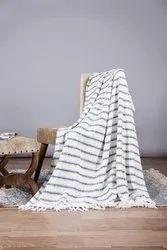 Blue Striped Cotton Sofa Throw