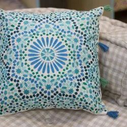 Blue Embroidered Decorative Sofa Cushion Cover