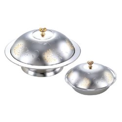 Stainless Steel Golden Flower Serving Dishes