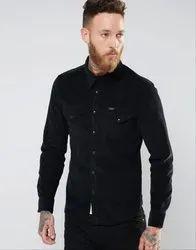 Cotton Collar Neck Mens Designer Black Shirt