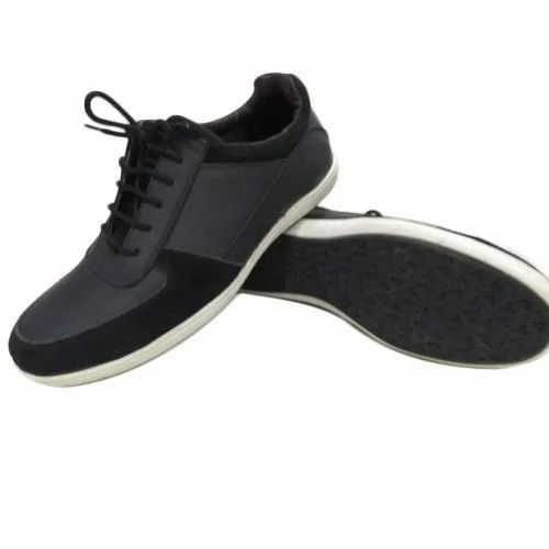 Black Casual Wear Mens Leather Lace Up