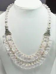 925 Sterling Silver Rose Quartz High End Furnished Necklaces