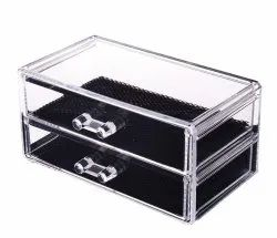 Crystal Clear Acrylic Makeup and Jewelry Organizer with 2 Deep Storage Drawers