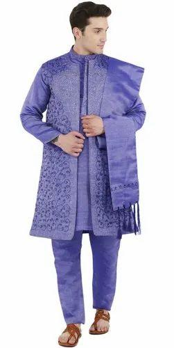 d7805a98f81 Kurta Pajama Sherwani Stole Set Men Blue Indian Sherwani Wedding Party 4- Pieces Dress