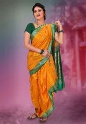 Sanjana Creations Bordering & Boota Kasta Saree, Length: 8.5 m