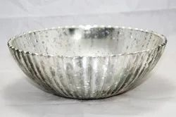SHOBHANA ENTERPRISES Silver Glass Fruit & Vegetable Bowl, Set Contains: 1, Size: 10 Inch