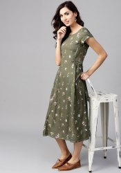 Tulsattva Rayon Women Olive Green Printed Midi A-Line Dress