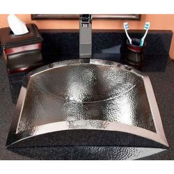Single Polished Hammered Semi-Recessed Copper Sink