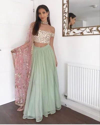 96a5b96aa8 New Designer Green Color Lehenga Original Quality For Wedding Party  Festival Bride