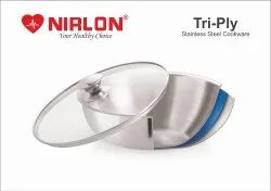 NIRLON Triply Stainless Steel Tasla, Kadhai, 2.5 Litre, Silver (24 cm) (Induction Compatible)