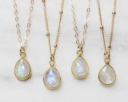 Rainbow Moonstone Bezel Set Necklace
