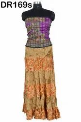 Vintage Recycled Silk Sari Women's Long Strapless Dress DR169s