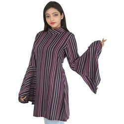 Bell Sleeve Party Wear Ladies Striped Rayon Short Kurti, Handwash