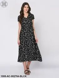Ditsy Floral Print Black Maxi Dress for Women