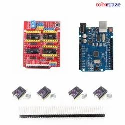 Robocraze CNC Shield, Uno board, Stepper Motor Driver,  Heat Sink, 40Pin Needle