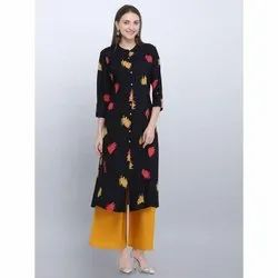 Black Rayon Fancy Kurti
