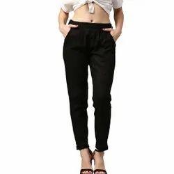 Black Plain Women's Cotton Flex Pant