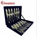 24-Pieces Cutlery Set (Plain, 12 Gauge, Stainless Steel)