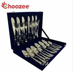 Silver Choozee - 24-Pieces Cutlery Set (Plain, 12 Gauge, Stainless Steel) for Kitchen