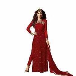 Chanderi Stitched Ladies Red Suit, Handwash