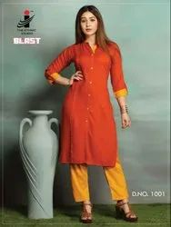 Casual Wear The Ethnic Blast Heavy Rayon Plain Kurtis