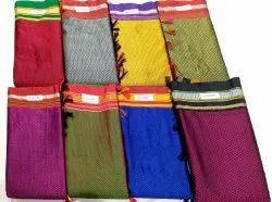 Border Pure Silk and Cotton Blended Maharashtrian Traditional Khun Saree, Length: 6 m (With Blouse Piece)