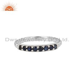 Beautiful Blue Sapphire Gemstone Fine Sterling Silver Band Ring