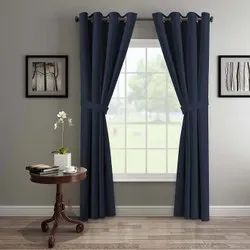 Polyester Navy Blue Ready Made Door Curtain, Size: 48 (w)x84 (h) Inch