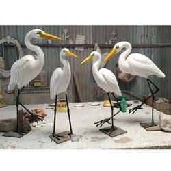 White Plain FRP Bird Sculpture, for Interior And Exterior Decor