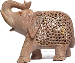 Hand Crafted Stone Elephant with Baby Inside Mother's Tummy