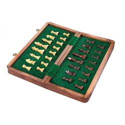 Folding Wooden Magnetic Travel Chess Set 10 inch