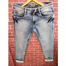 Denim Faded Mens Ankle Length Jeans Narrow Fit, Waist Size: 28-36