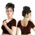 Abhi Stretchable Soft Velvet With Half Sleeves Ladies Blouse