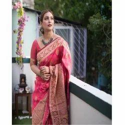 Party Wear Printed Latest Banarasi Silk Sarees, 5.50 Meter
