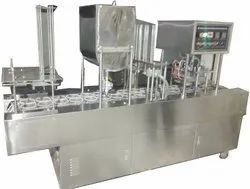 Automatic Cup Filling And Sealing Machine For Dahi, Lassi, Yogurt, Shrikhand (2 Line)